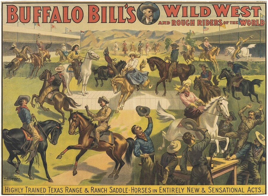 Unknown Buffalo Bill's Wild West and Rough Riders of the World, 1907 Chromolithograph
