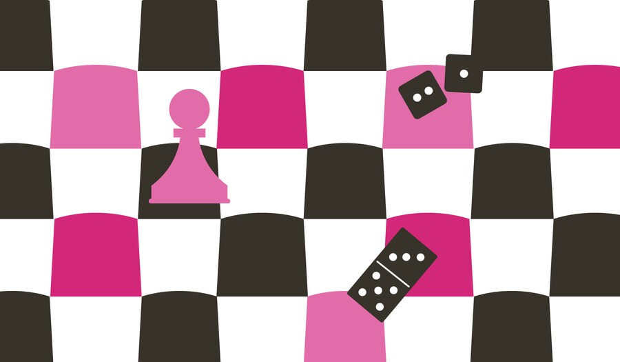 checkerboard with game piece, domino, and dice