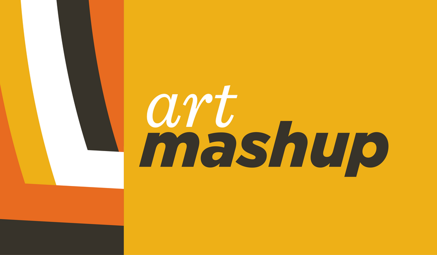 Graphic lines in black, orange, yellow, and white with text that says Art Mashup