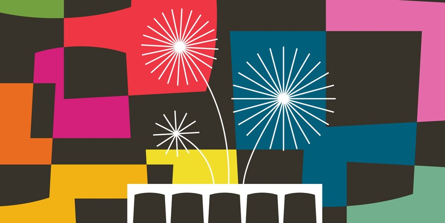 Graphic with arched square shapes in multiple colors behind a silhouette of the Carter museum; stylized fireworks are in the background