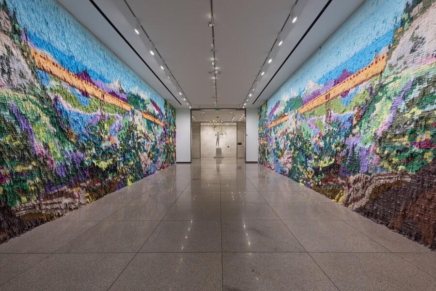 mural made out of pinata paper in a hallway