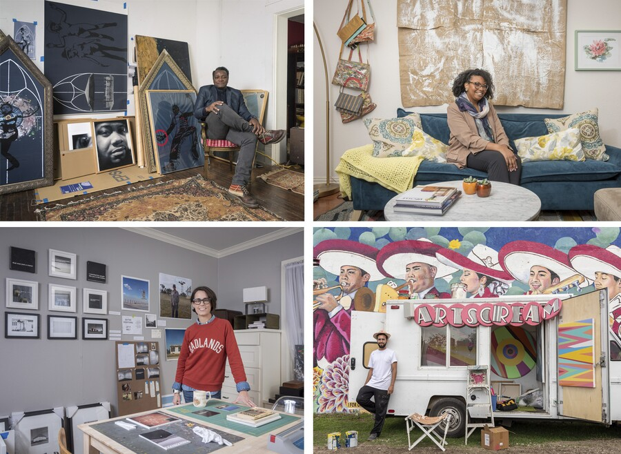 A collage of four photos, each showing an artist in his or her studio space surrounded by artwork.