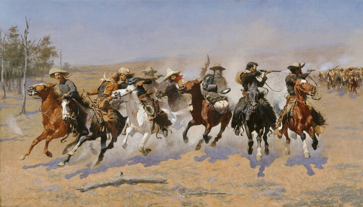 Frederic Remington (1861–1909), A Dash for the Timber; 1889, oil on canvas