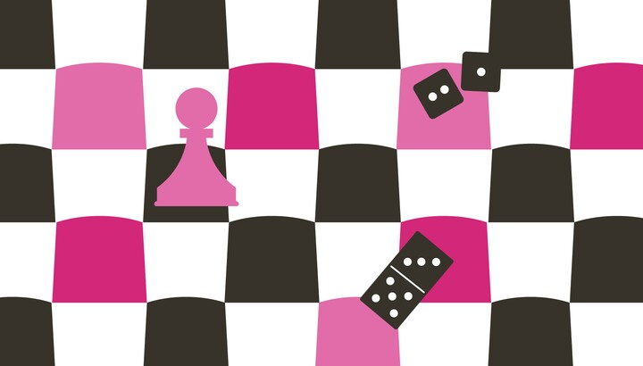 Pink, black, and white checkerboard with a chess pawn, domino, and two dice