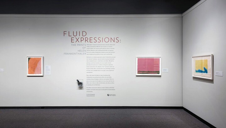 View of gallery showing three framed prints hanging on white walls; exhibition title and introductory text is between two of the prints.