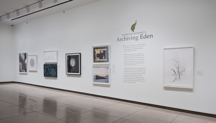 View of gallery with white walls; eight framed artworks hang on the wall around the exhibition title and introductory text.