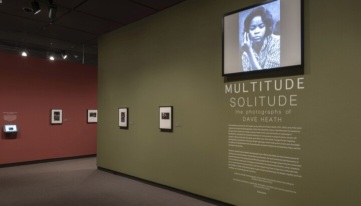 View of exhibition showing green title wall featuring two framed photographs and introductory text; above the text is a video monitor; a red wall featuring framed photos leads into the exhibition.