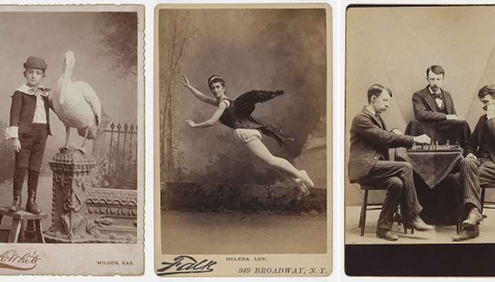 three cabinet cards
