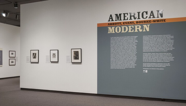 View of a gallery title wall; on the right is the title and exhibition text on a gray background; on the left are three framed photographs on a white background.