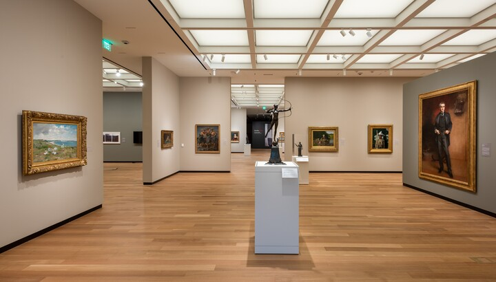 gallery with paintings and sculpture