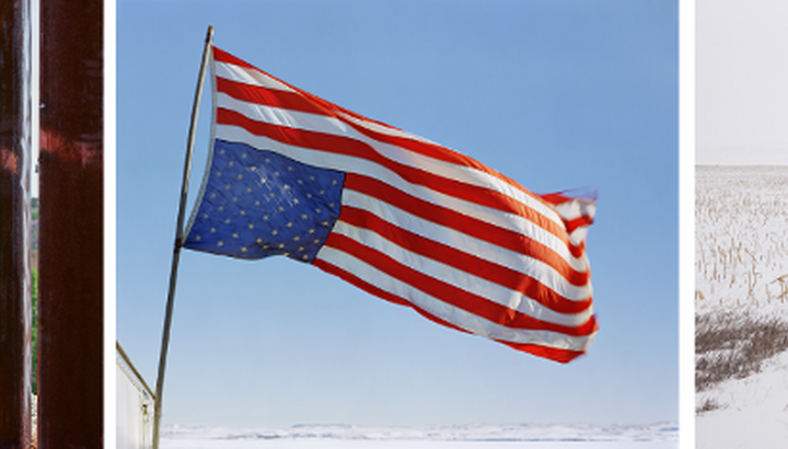 Collage of three photos (L-R): An older woman looks through a tall fence; an American flag flies upside down on a flagpole; five people walk across a snow-covered field.