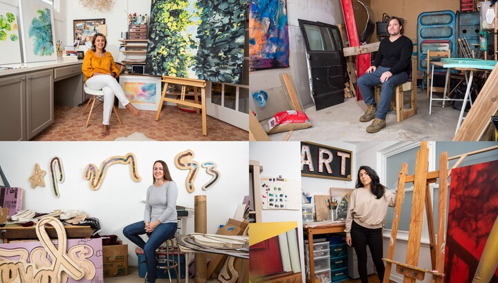 Collage of four images: [top left] A woman wearing a gold shirt and white pants sits in a studio surrounded by paintings on the wall and on easels; [top right] A man in a black shirt and blue jeans sits in a room full of sculptural and found objects; [bottom right] A woman in a tan shirt and black pants stands next to an empty easel in an art studio; [bottom left] A woman in a gray top and jeans sits on a stool in an art studio with sculpture hanging on the walls and unfinished work on the floor