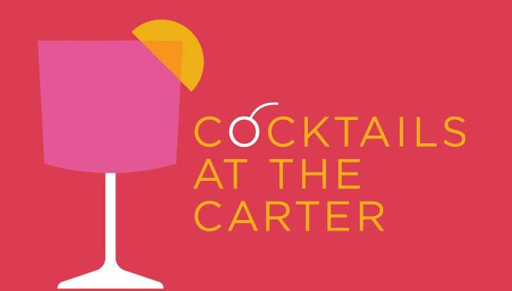 red background with pink cocktail graphic with a lemon graphic stating Cocktails at the Carter