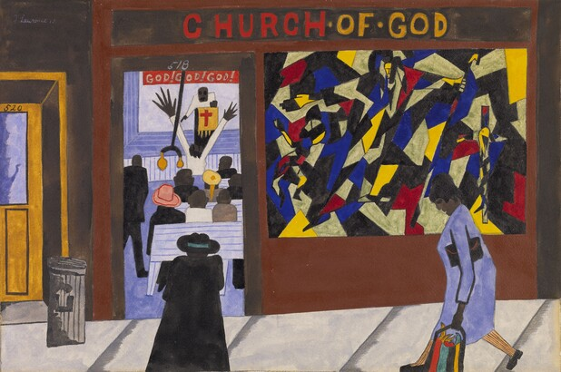 Jacob Lawrence, There are many churches in Harlem, 1943