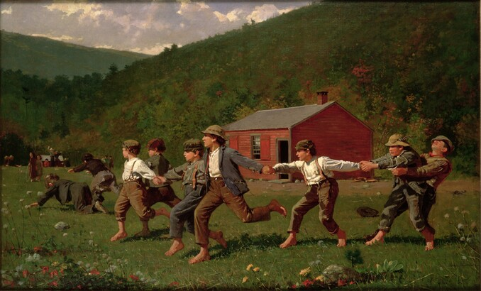 Winslow Homer (1836–1910), Snap the Whip, 1872, oil on canvas, Collection of The Butler Museum of American Art, Youngstown, Ohio Museum Purchase, 1919 Bridgeman Images