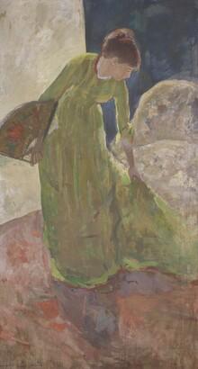 Mary S. Cassatt (1844–1926), Woman Standing, Holding a Fan, 1878, Distemper with metallic paint on canvas