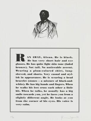 Glenn Ligon (b. 1960), Runaways [3 of 10], 1993, Lithograph