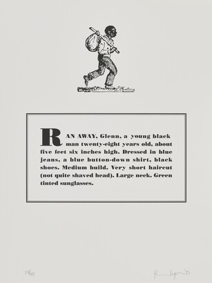 Glenn Ligon (b. 1960), Runaways [5 of 10], 1993, Lithograph