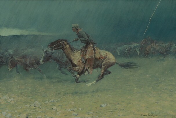 Frederic Remington (1861–1909), The Stampede, 1908, oil on canvas