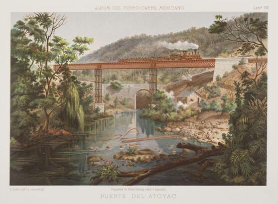 Casimiro Castro (1826–1889), Puente del Atoyac., 1877 chromolithograph
