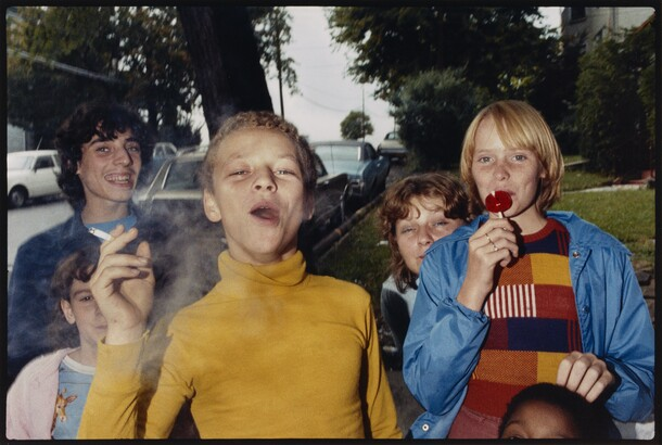 Mark Cohen (b. 1943), Boy in Yellow Shirt Smoking, Scranton, PA, 1977, 2005, Dye coupler print