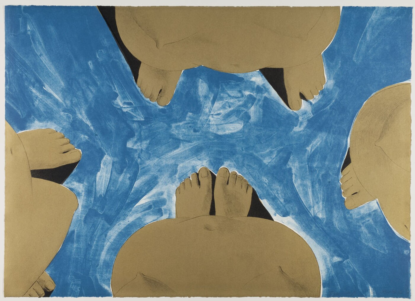 Four stylized bodies are depicted around the perimeter of the work. The bodies are depicted from above, with pairs of feet jutting into the center of the work. In between the four bodies is a stylized blue field.