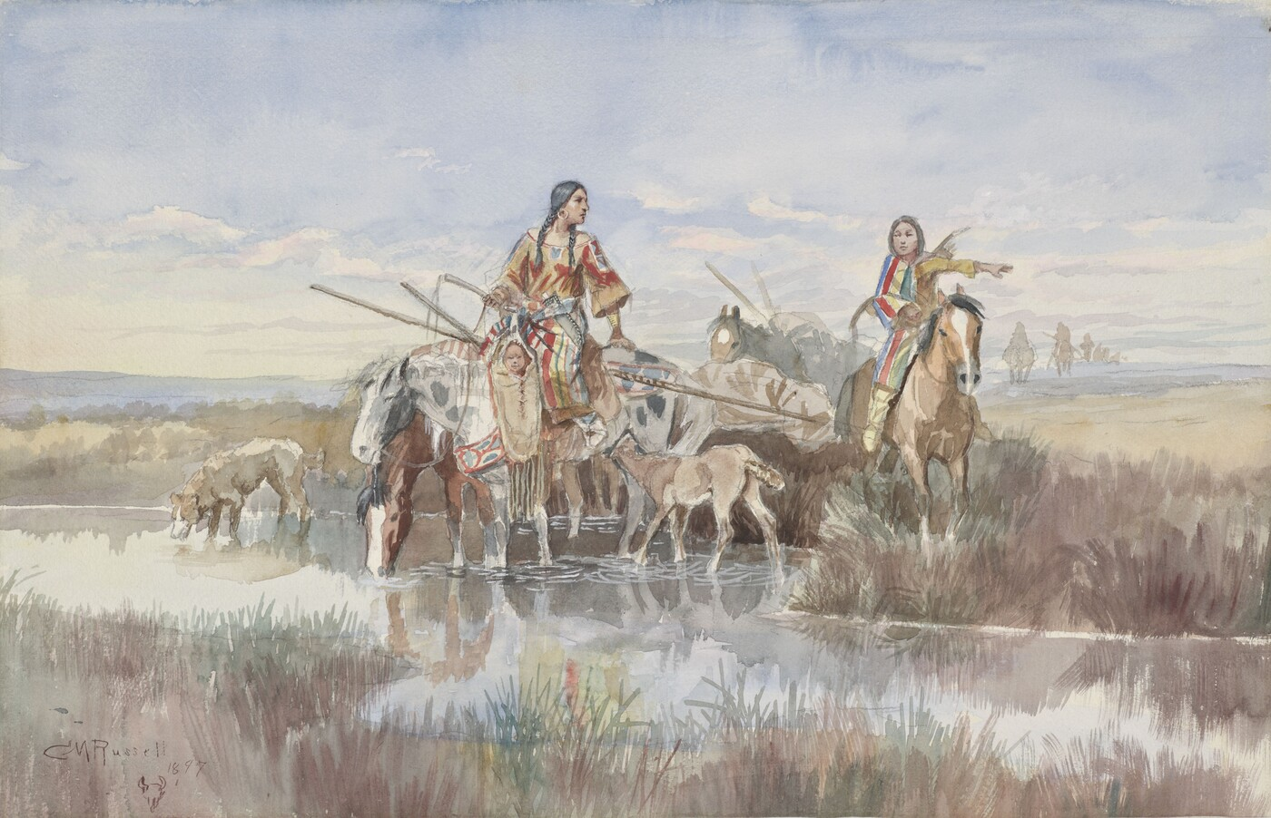 Charles M. Russell, Indian Family with Travois, 1897