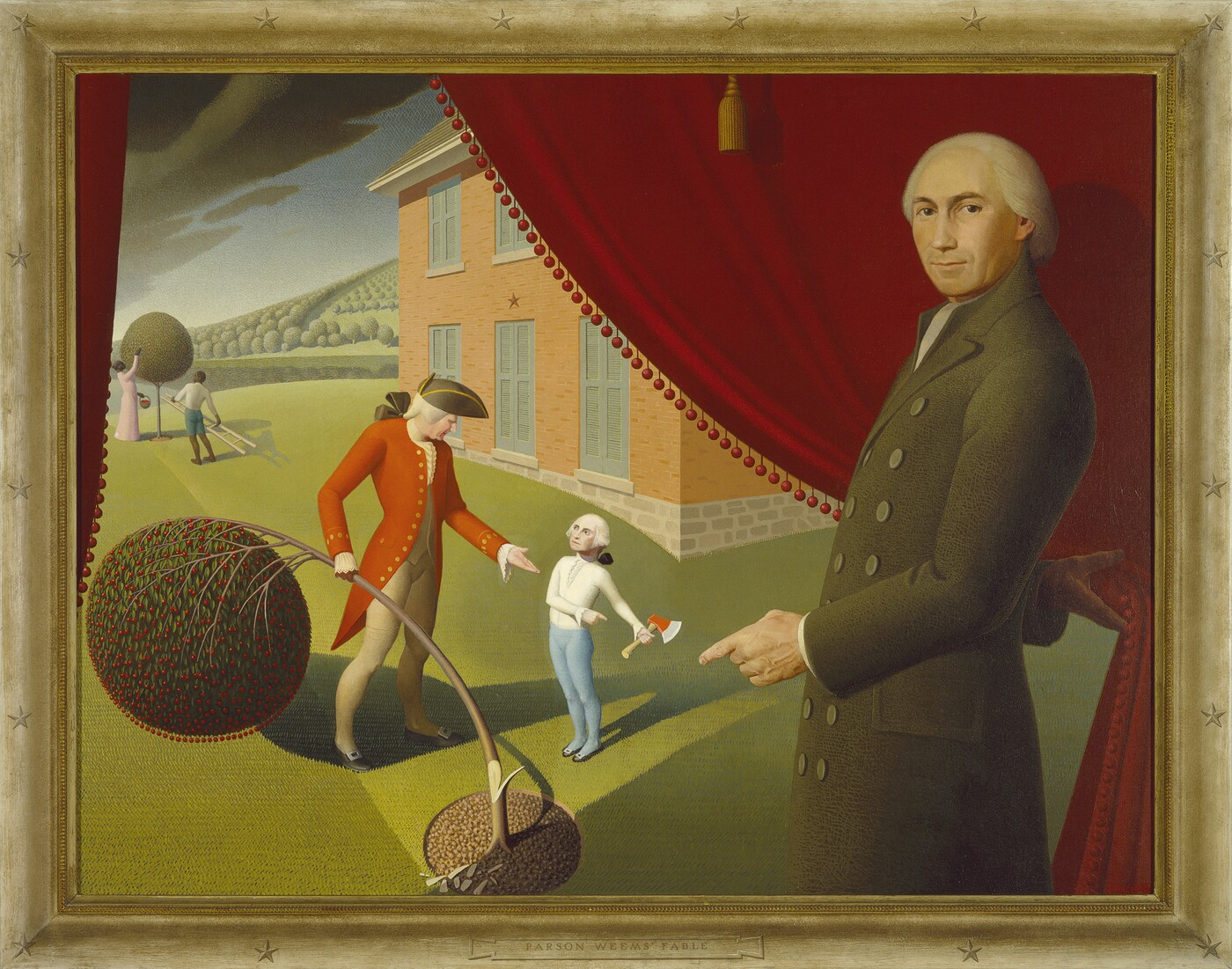 Grant Wood (1891–1942), Parson Weems' Fable, 1939, Oil on canvas