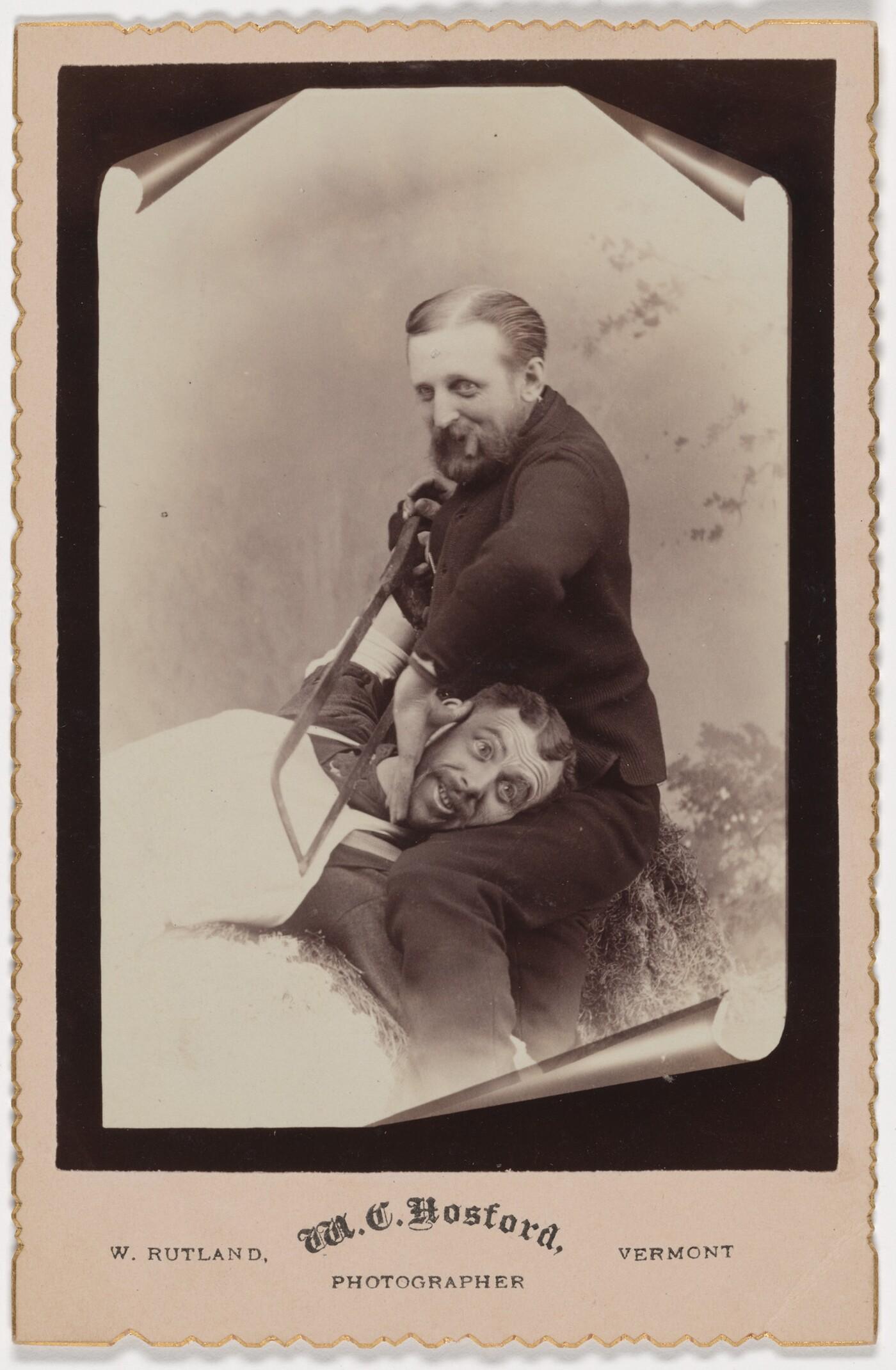 M.C. Hosford, West Rutland, CT, [Getting the saw], 1880s, albumen silver print
