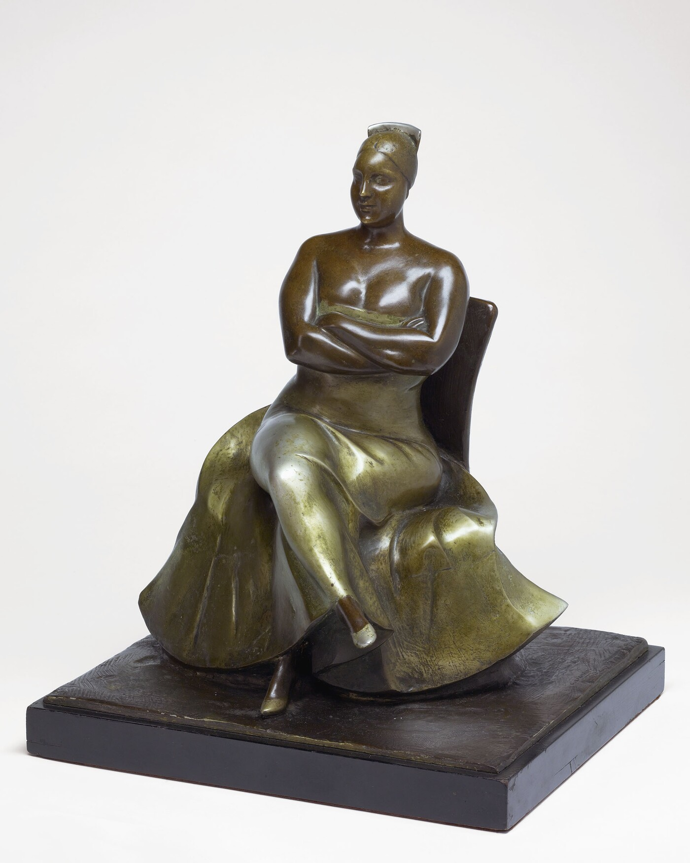Gaston Lachaise (1882–1935), Roman Bronze Works, Woman Seated, 1925, Bronze with nickel plate