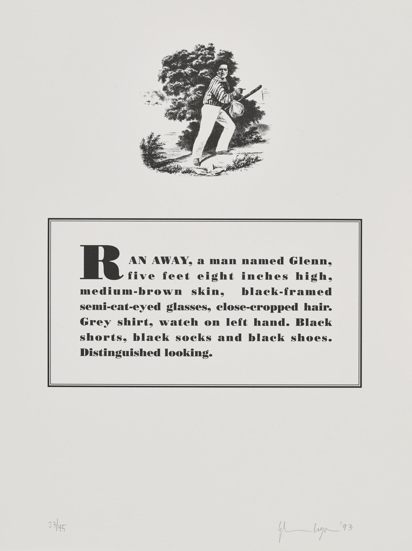 Glenn Ligon (b. 1960), Runaways [6 of 10], 1993, Lithograph