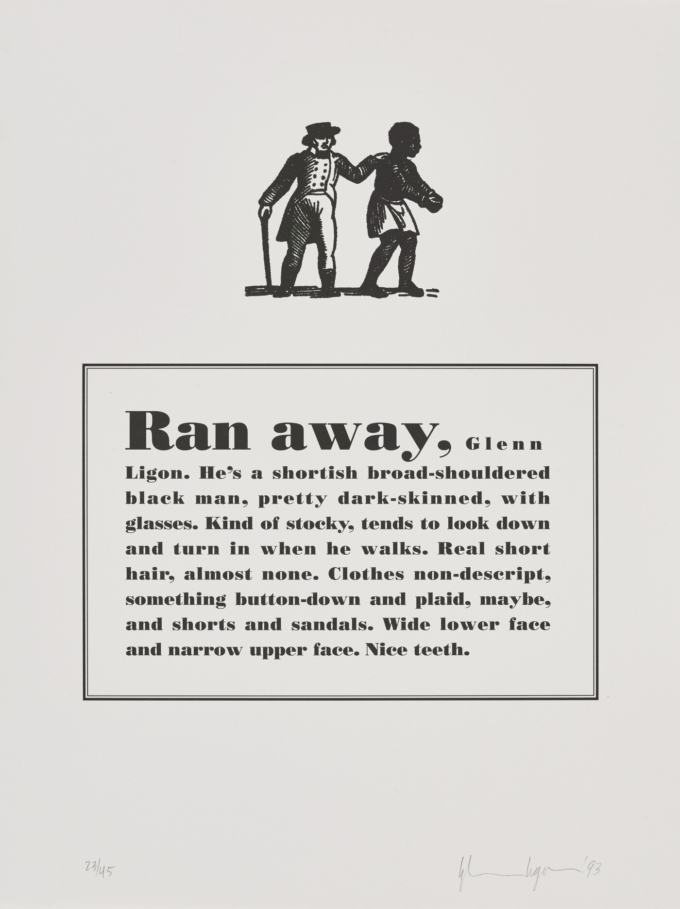 Glenn Ligon (b. 1960), Runaways [7 of 10], 1993, Lithograph