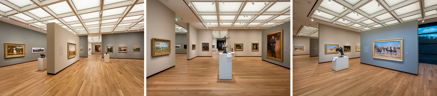 three gallery installation images of the Amon Carter Museum of American Art