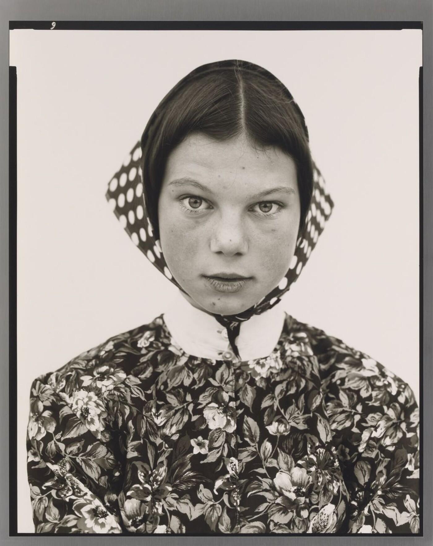 Richard Avedon (1923–2004), Freida Kleinsasser, Thirteen Year Old, Hutterite Colony, Harlowton, Montana, 6/23/83, 1983