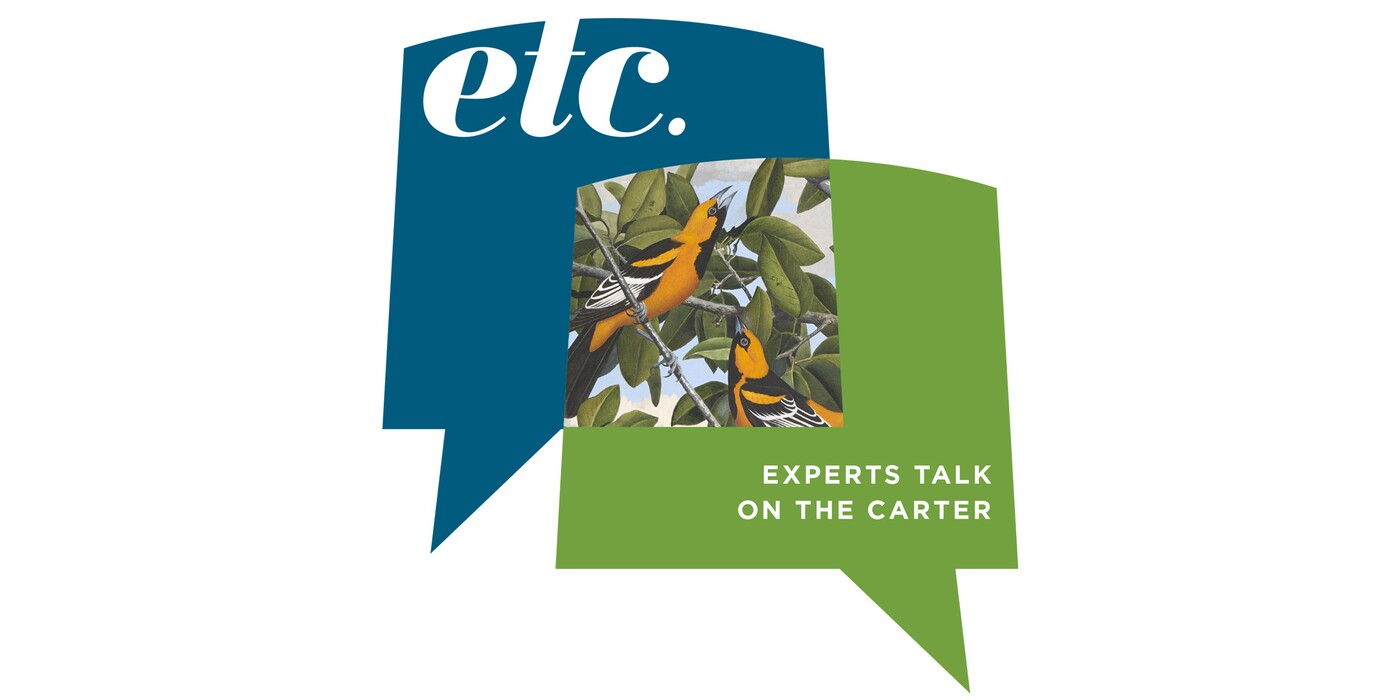 """Two graphic thought bubbles: A blue one with the letters, """"etc.""""; and a green one with the words, """"Experts Talks on the Carter"""" and an illustration of birds"""