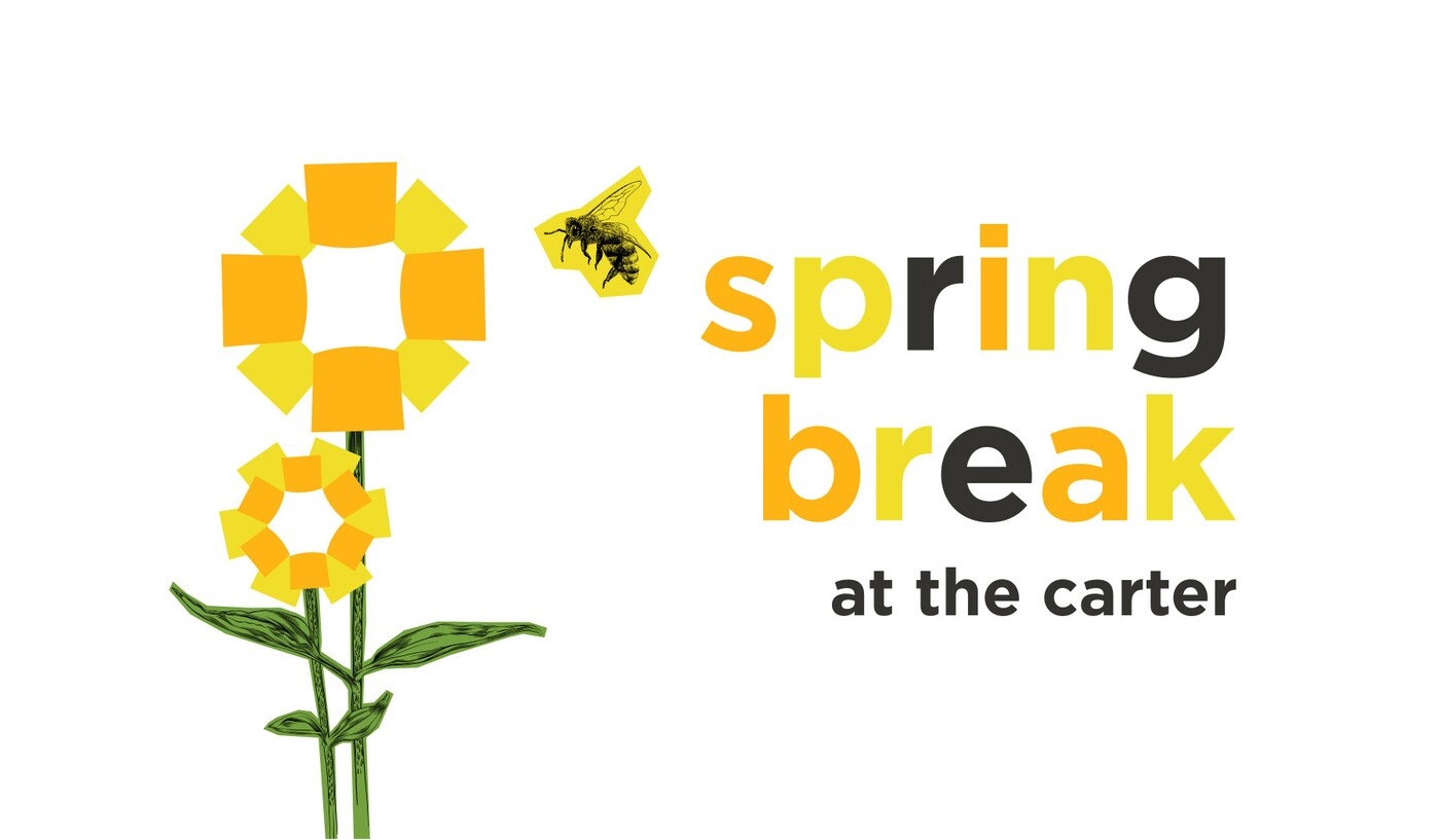 """Stylized yellow flowers next to text that says, """"Spring Break at the Carter"""""""