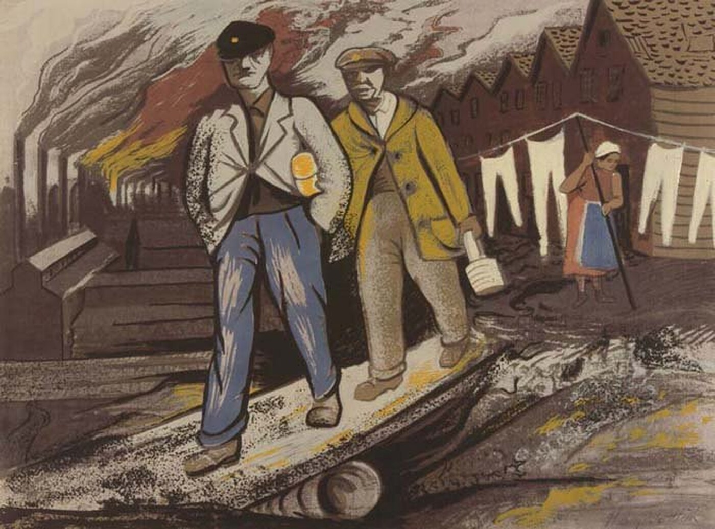 Screen print depicting two men walking and carrying lunch pails - one under his arm, the other in his hand. A woman in the background sweeps up in front of a laundry line as smokestacks emit smoke in the background.