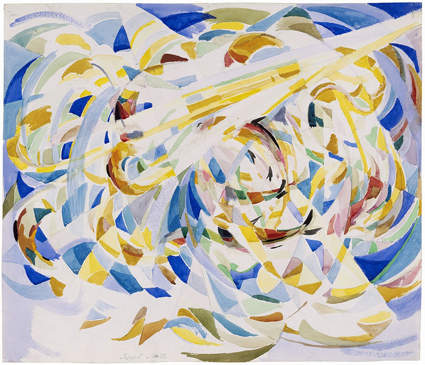 Watercolor painting featuring gold, blue, red, and white swirls across the entire canvas.