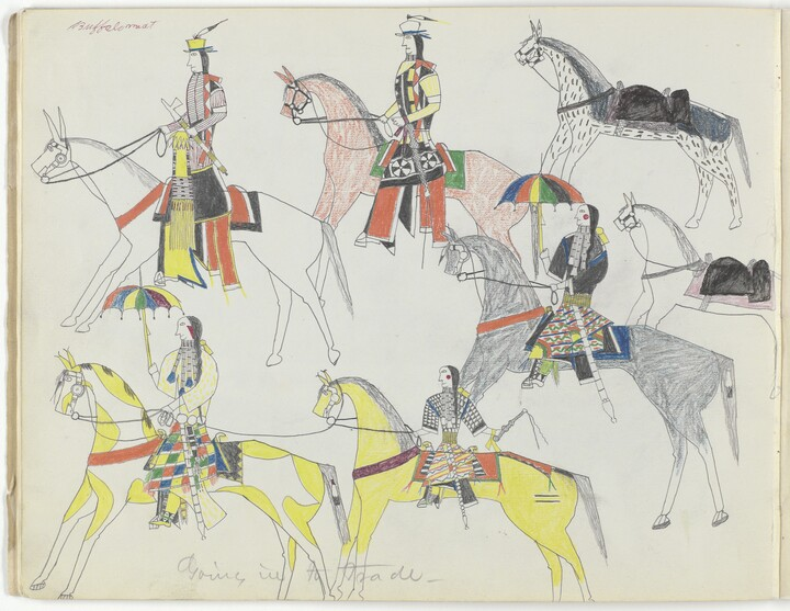 Buffalo Meat (1847–1917), Going in to Trade, 1876, Colored pencil, graphite, and ink on paper