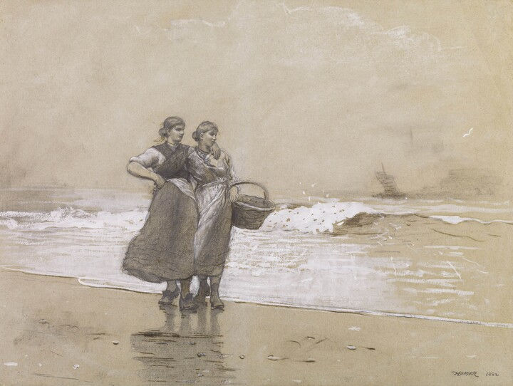 Winslow Homer (1836–1910), Blyth Sands, 1882, Graphite, opaque watercolor, ink, chalk, and charcoal on paper,