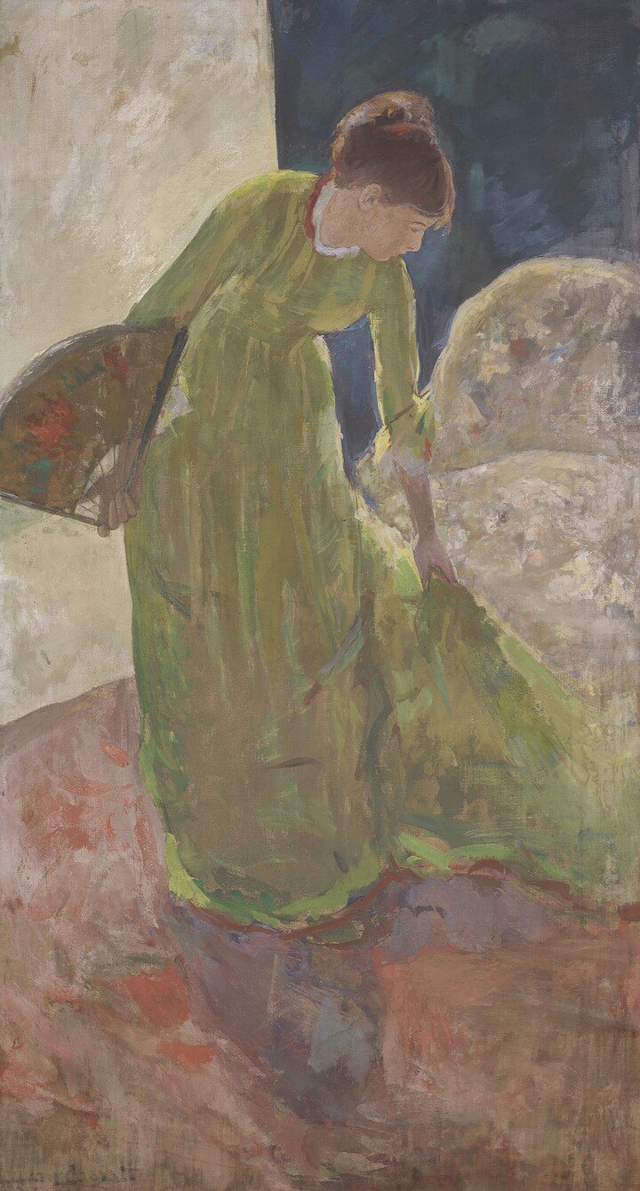 Mary S. Cassatt (1844–1926), Woman Standing, Holding a Fan, 1878, Distemper with metallic paint on canvas