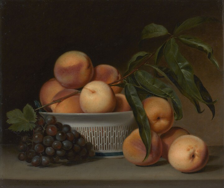 Raphaelle Peale (1774–1825), Peaches and Grapes in a Chinese Export Basket, 1813, Oil on panel
