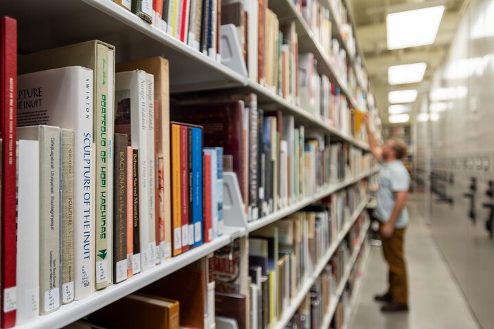 Library stacks receding into the distance. A single figure is standing in between shelves.