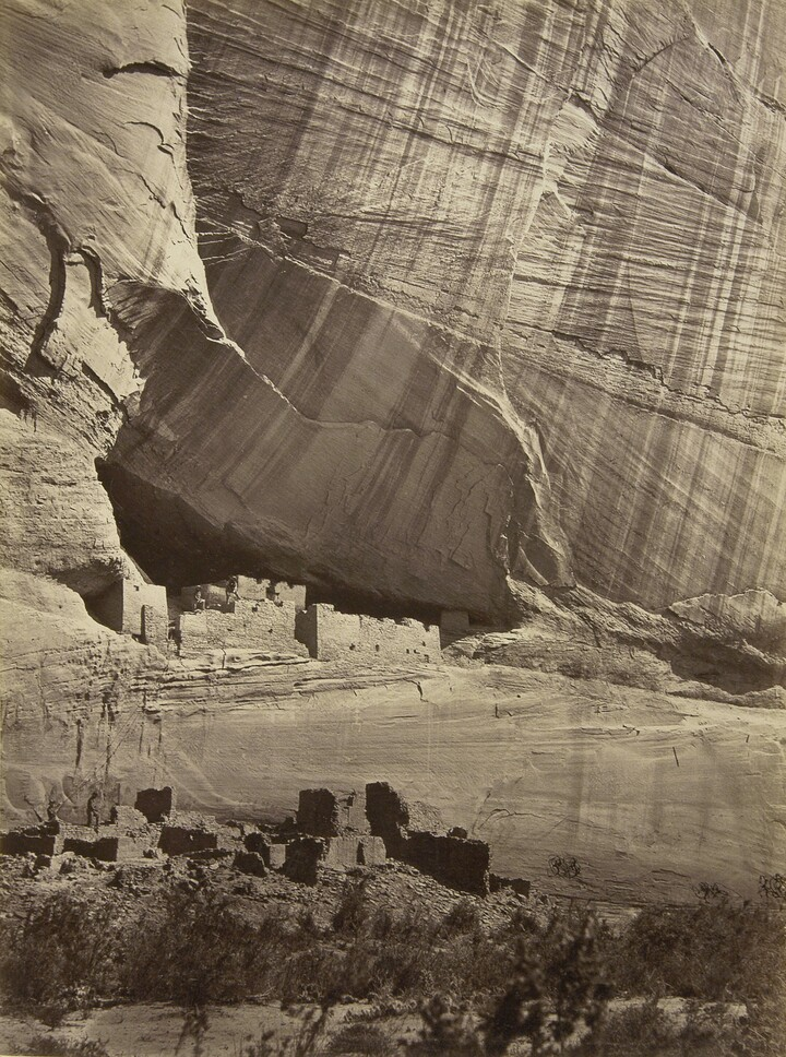 Timothy H. O'Sullivan (1840–1882), Ancient Ruins in the Cañon de Chelle, N. M. in a Niche 50 Feet above Present Cañon Bed, 1873, Albumen silver print