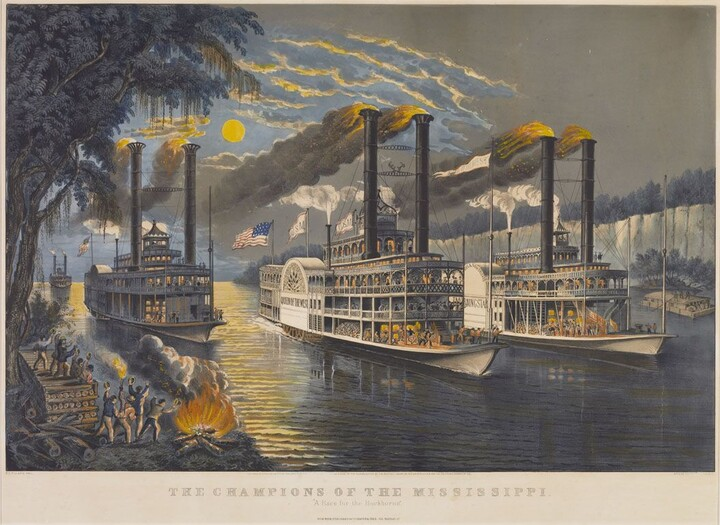 """Frances Flora Bond Palmer (1812–1876) The Champions of the Mississippi. """"A Race for the Buckhorns."""" 1866"""