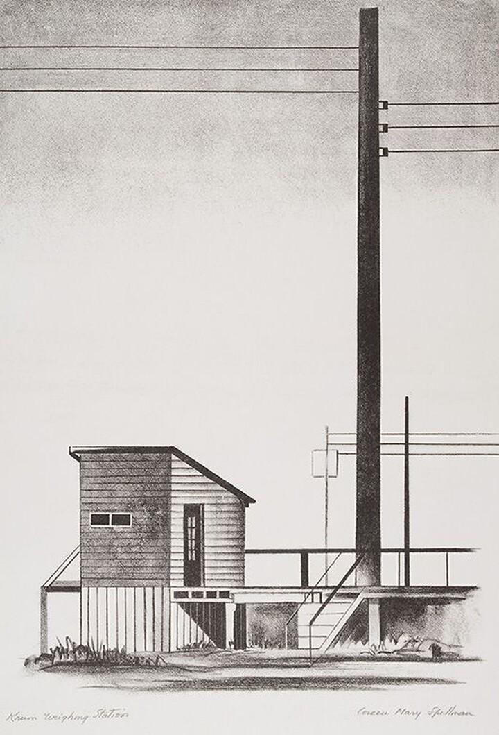 Coreen Mary Spellman (1905–1978) Krum Weighing Station, 1946