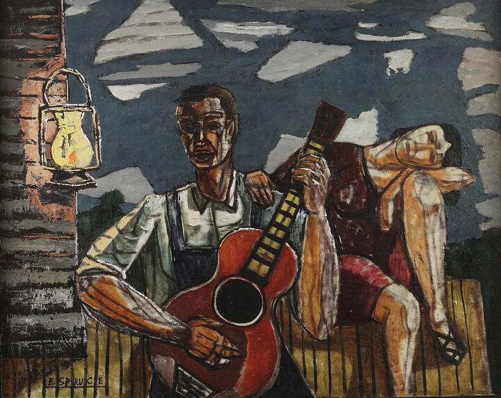 A dark-skinned man plays a guitar outside a wood house; a lit lantern hangs from the house; a seated woman with light skin rests her head on her left knee