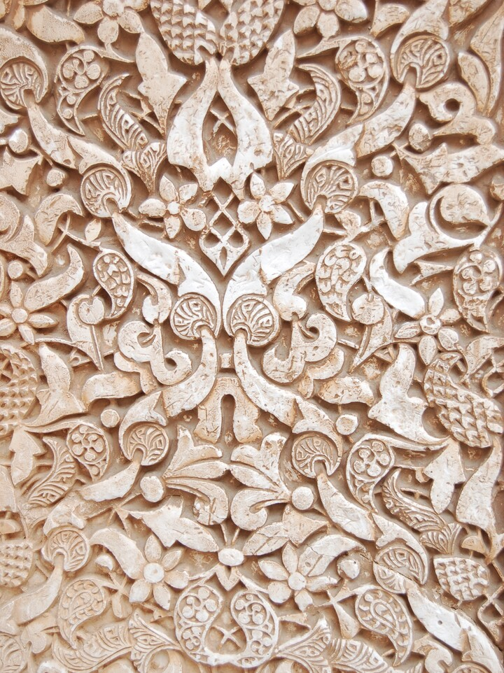 A detail of intricate designs in plaster
