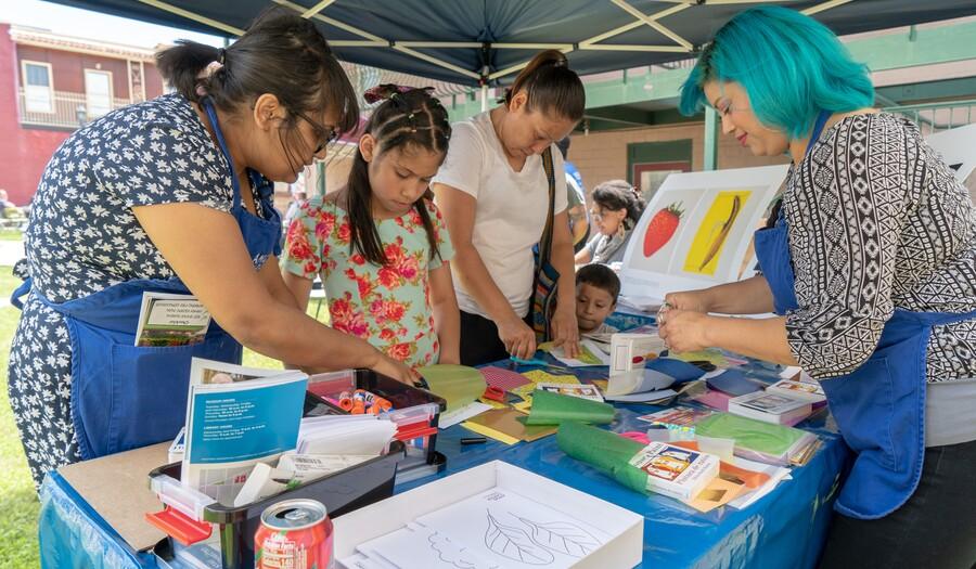 festival participants making art