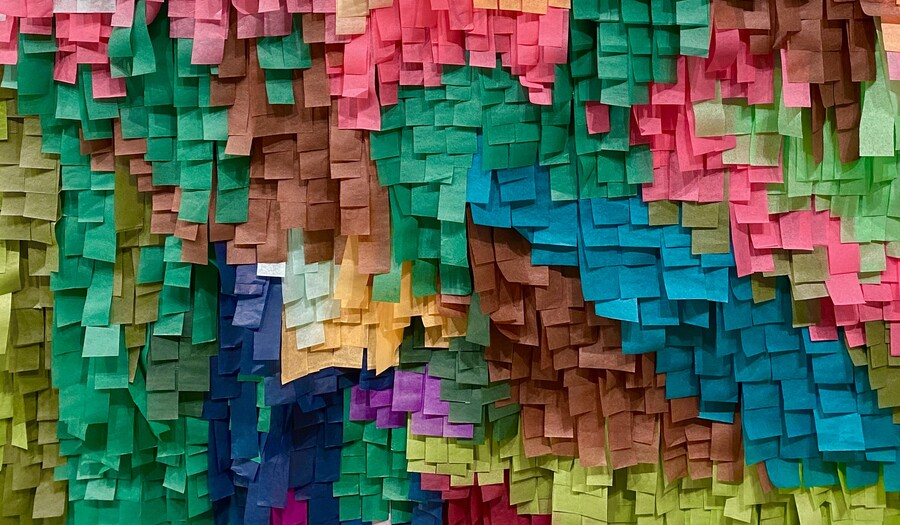 multiple colored tissue paper cut like a pinata